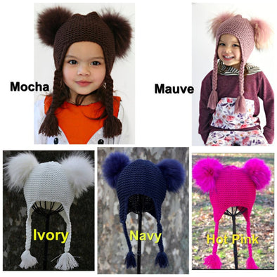 Honeypiekids | Double Fur Pom Knit Braids Hat- 5 Color Choices