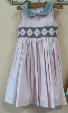 Antoinette Paris Elizabeth Hand Smocked Dress In Pink and Grey