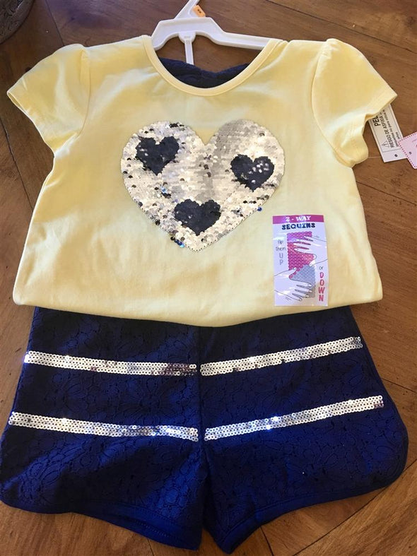 Honeypiekids | Flapdoodles 2 Way Sequin Heart Shirt and shorts set