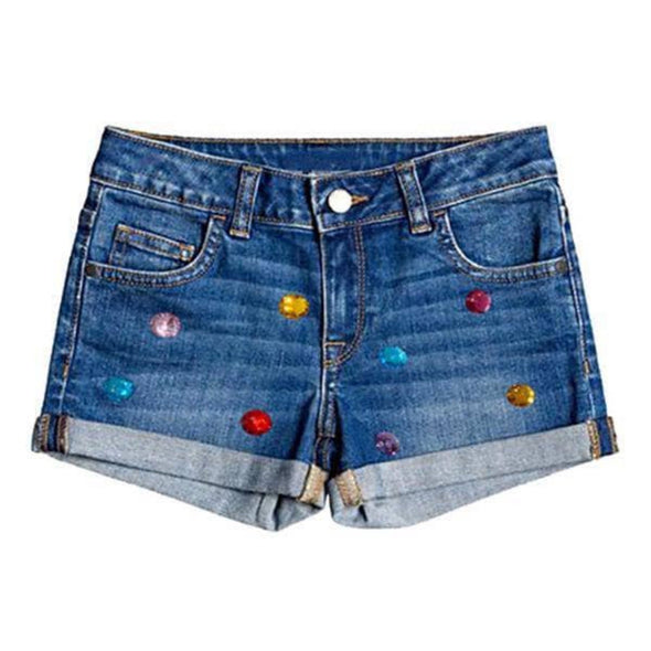 honeypiekids | Girls Rainbow Gems Denim Shorts.