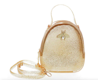 Honeypiekids | Doe a Dear Gold Glitter Jelly purse with Bee Pin