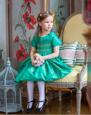 Antoinette Paris Louise Pine Green Hand Smocked Dress
