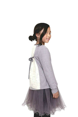 Honeypiekids | MaeLi Rose Lace Back Button Cardigan In Rose Or Grey