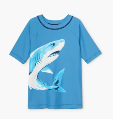 honeypiekids | Hatley Boys Deep Sea Shark Short Sleeve Rashguard.