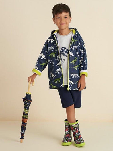 honeypiekids | Hatley Boys Dino Fossils Color Changing Rain Jacket.