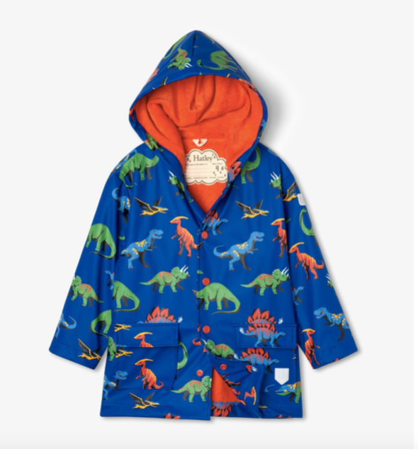 honeypiekids | Hatley Boys Friendly Dinos Color Changing Rain Jacket - Infant Sizes to Youth.