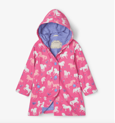 honeypiekids | Hatley Girls Pink Horses Color Changing Rain Jacket - Infant Sizes to Youth Sizes.