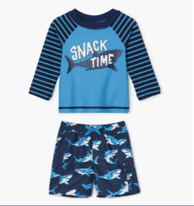 honeypiekids | Hatley Infant Deep Sea Shark Rashguard Set.
