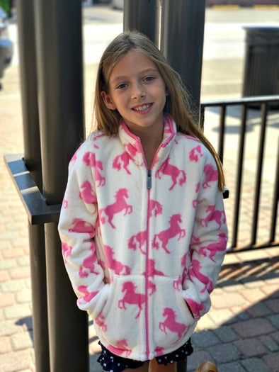 Honeypiekids | Hatley Girls Horses Fleece Zip Up Jacket