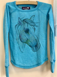 Crystal Turquise Horse Long Sleeve Thermal Shirt - Honeypiekids.com