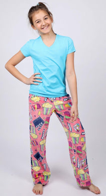 honeypiekids | Candy Pink Fleece Pajama Bottoms in Popcorn and a Movie Pattern