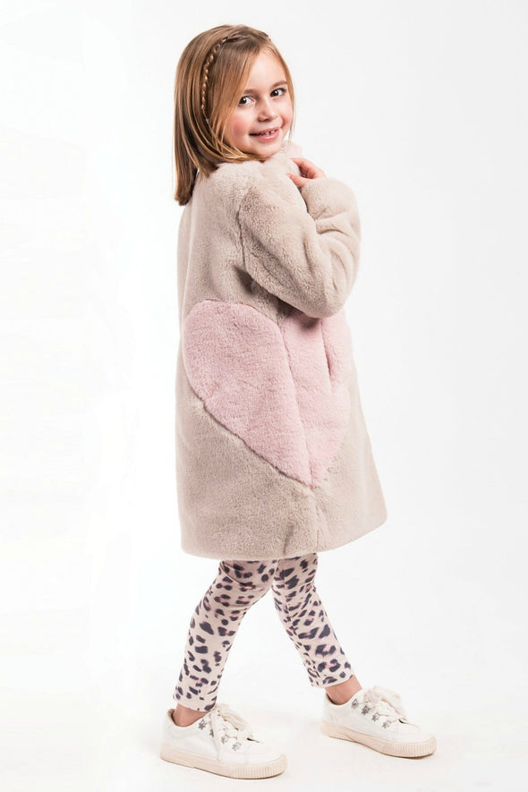Honeypiekids | Imoga Collection Frida Pink Heart Long Faux Fur Coat