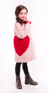 Honeypiekids | Imoga Collection Frida Red Heart Long Faux Fur Coat in Powder Pink