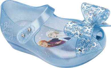 Mini Melissa Frozen Ultra 25 Pearl Blue Glitter Bow Mary Jane Shoes | Honeypiekids