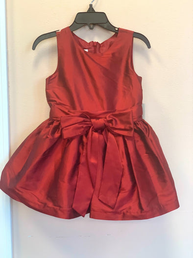 honeypiekids | Isobella and Chloe Red Bow Silk Infant Dress.