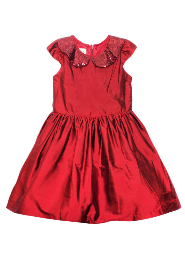 honeypiekids | Isobella and Chloe Red Sequin Collar Silk Dress.