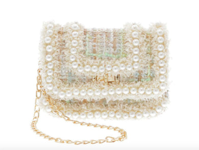 Honeypiekids | Doe a Dear Ivory Tweeted Crossbody Bag with All Around Pearl Detailing