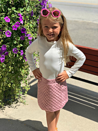 Honeypiekids | Lili Gaufrette Girls Pink & Ivory Quilted Dress