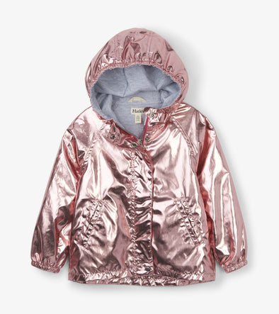 Honeypiekids | Hatley Girls Metallic Rose Gold Fleece Lined Hooded Jacket