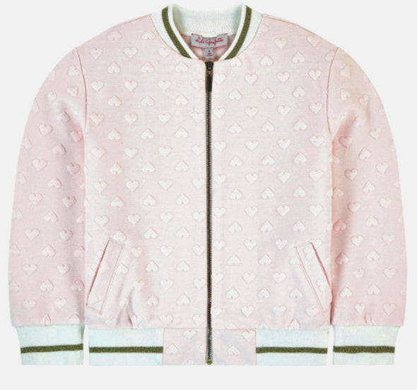 Honeypiekids | Lili Gaufrette Girls Pink Jacquard Heart Jacket