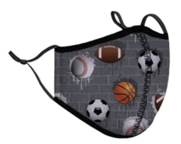 Honeypiekids | Kids SPORTS BALLS Reusable and Adjustable Face Mask