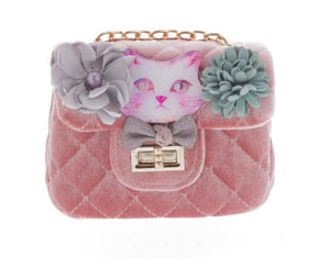 Honeypiekids | Doe a Dear Small Crossbody Tweed Purse with Kitty Applique