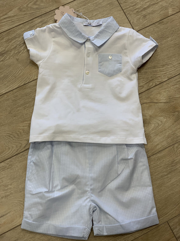 Honeypiekids | Patachou Baby Boys Collared Shirt and Shorts Set in Sky Blue Check Pattern