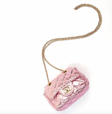 honeypiekids | Doe a Dear Lilac Small Foil Chanel Diamond Quilted Cross Body Bag