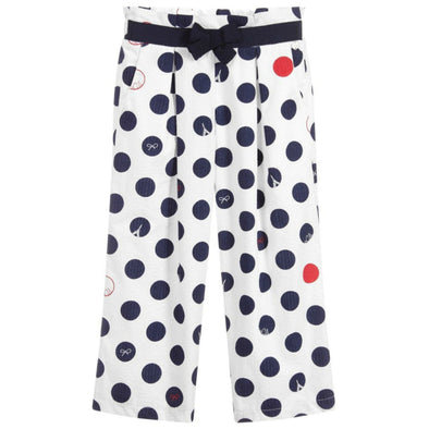 Honeypiekids | Lili Gaufrette Girls Polka Dot White Trousers