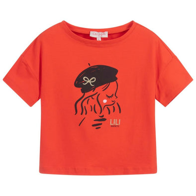 Honeypiekids | Lili Gaufrette Girls Red Parisian Girl Shirt