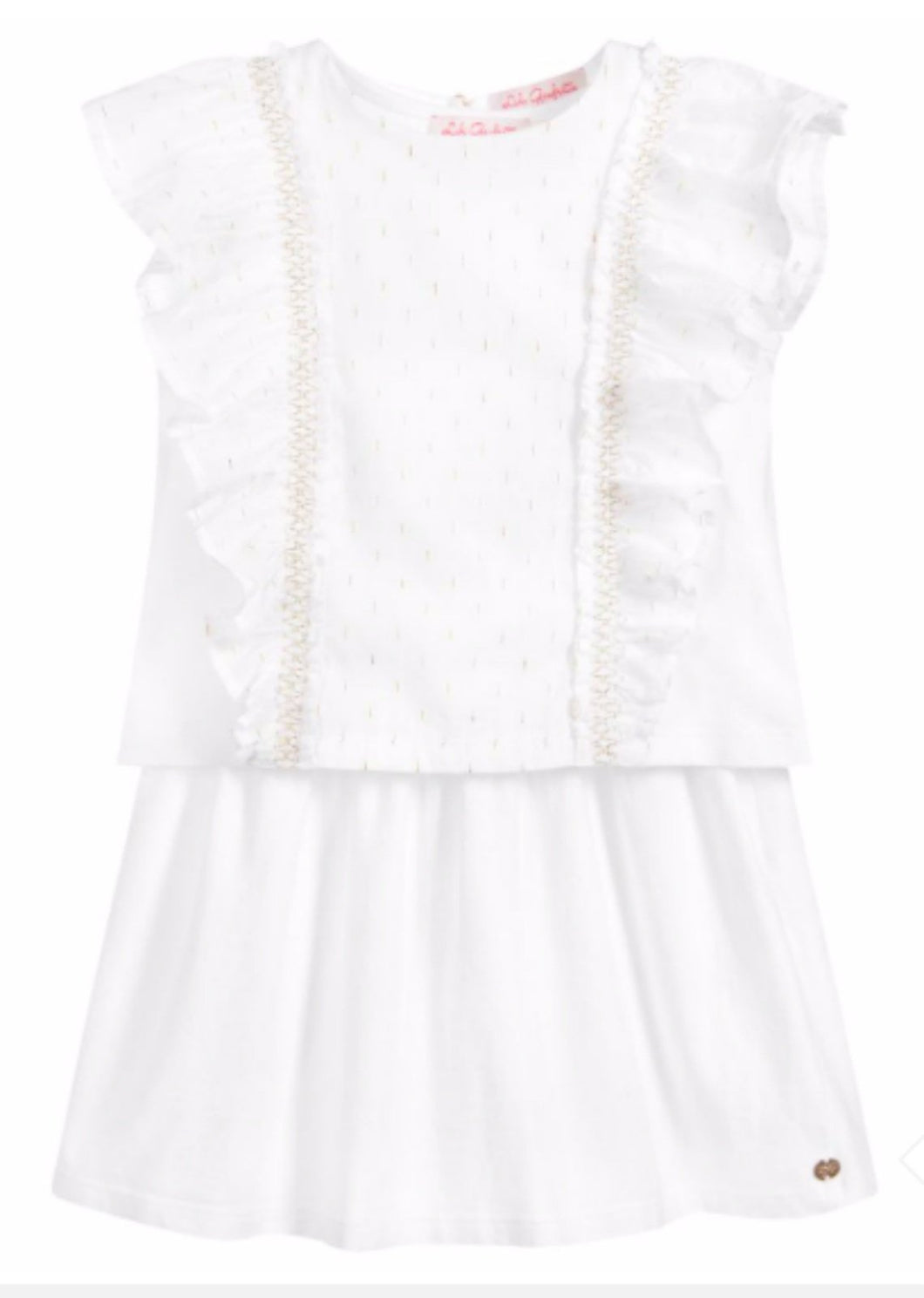 Honeypiekids | Lili Gaufrette Girls White and Gold Two Piece Dress Set
