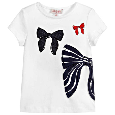 Honeypiekids | Lili Gaufrette Girls White Bows Shirt