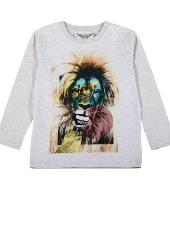 Honeypiekids | Paper Wings Lion Smile Boys Long Sleeve Organic Cotton Shirt