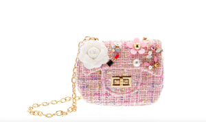 honeypiekids | Doe a Dear Pink Small Crossbody Tweeted Purse with Lipstick Applique