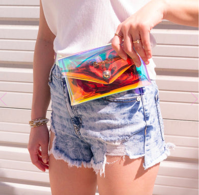 Bewaltz Holographic Jelly Fanny Pack W/ Belt