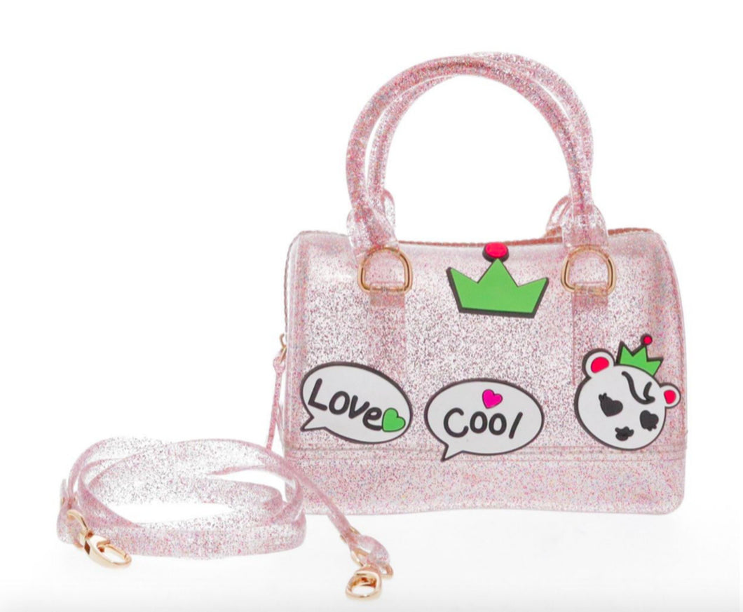 Doe a Dear Pink Glitter Jelly Barrel Love Cool Handbag - Honeypiekids.com