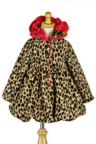 Mack & Co Leopard Fleece Pouf Coat - Honeypiekids.com