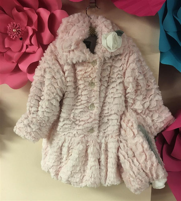 Honeypiekids | Mack & Co Light Pink Faux fur Coat and Matching Hat