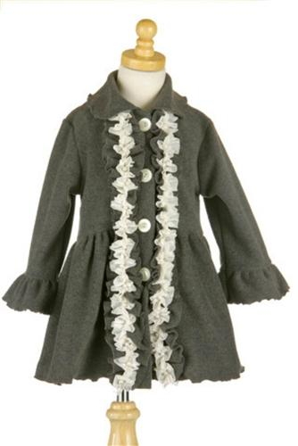 Honeypiekids | Mack & Co Pearl Fleece Ruffle Charcoal Coat