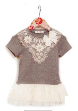 MaeLi Rose Pointed Crochet Tunic in Gray