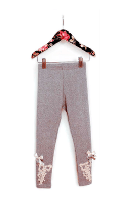 Honeypiekids | MaeLi Rose Bow Crochet Leggings in Gray
