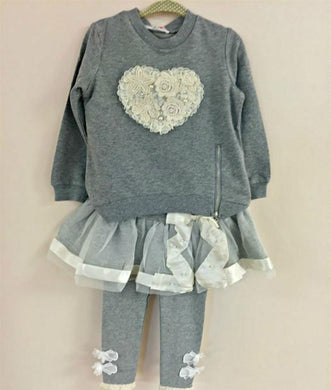 Honeypiekids | MaeLi Rose Grey Ribbon and Lace Leggings