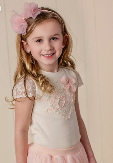 Honeypiekids | MaeLi Rose Love Heart Top in Ivory