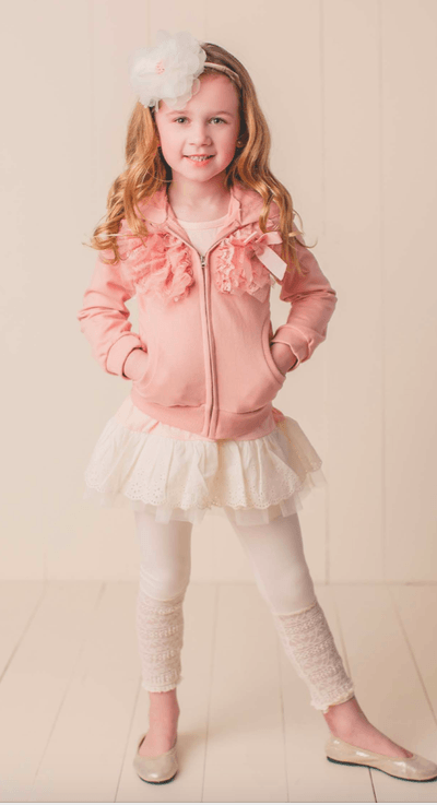 MaeLi Rose Sparkle Tulle Hoodie in peach - Honeypiekids.com
