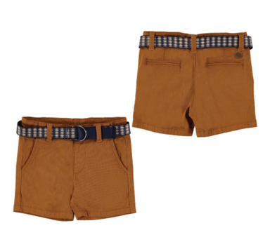 Honeypiekids | Mayoral Baby and Toddler Boy Biscuit Color Pique shorts With Belt