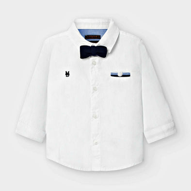 Honeypiekids | Mayoral Baby and Toddler Boy Long Sleeved Shirt with Bow Tie