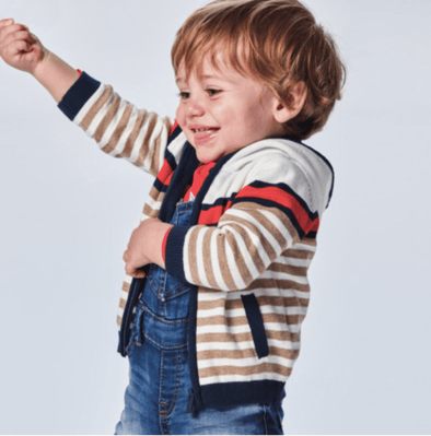 Honeypiekids | Mayoral Baby and Toddler Boy Woven Knit Striped Zip Up Sweater