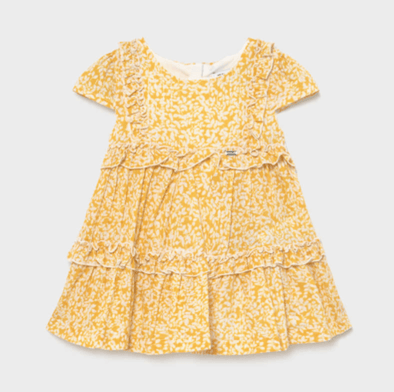 Honeypiekids | Mayoral Baby and Toddler Girls Mustard Voile Printed Dress