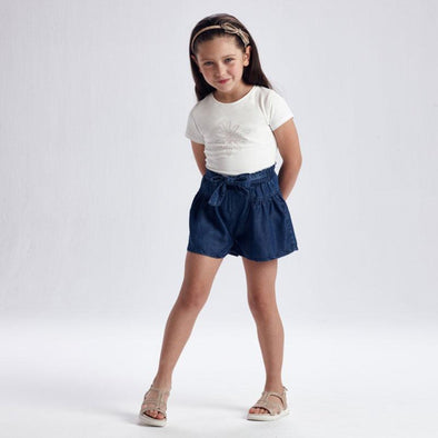 Honeypiekids | Mayoral Girls Ecofriends Denim Loose Belted Denim Shorts