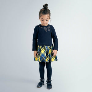honeypiekids | Mayoral Girls Navy & Yellow Check Dress
